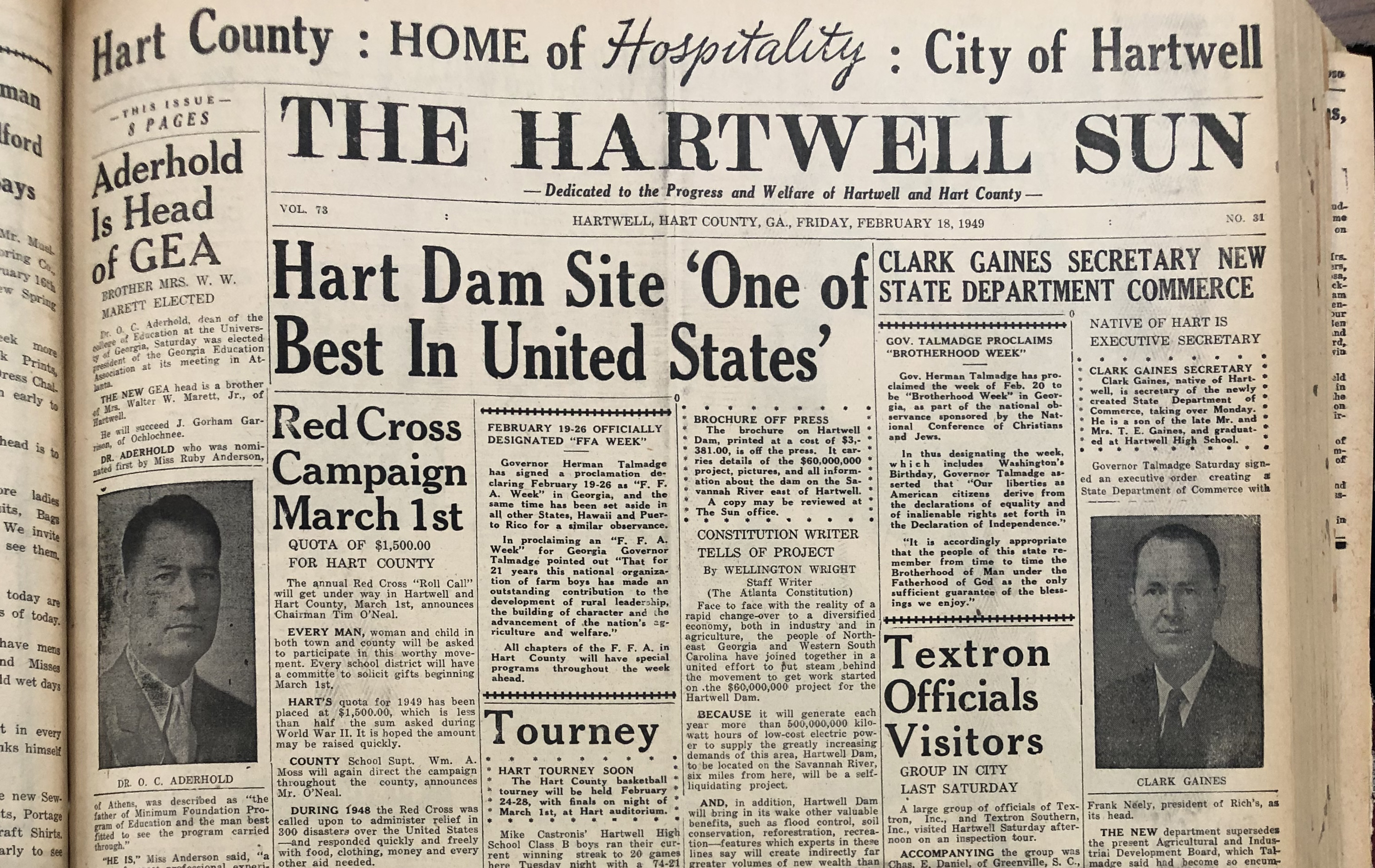 The Hartwell Sun in 1949