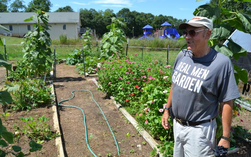 Hart County Community Garden leader Frank Spenger looks over his plots at the garden this past summer.