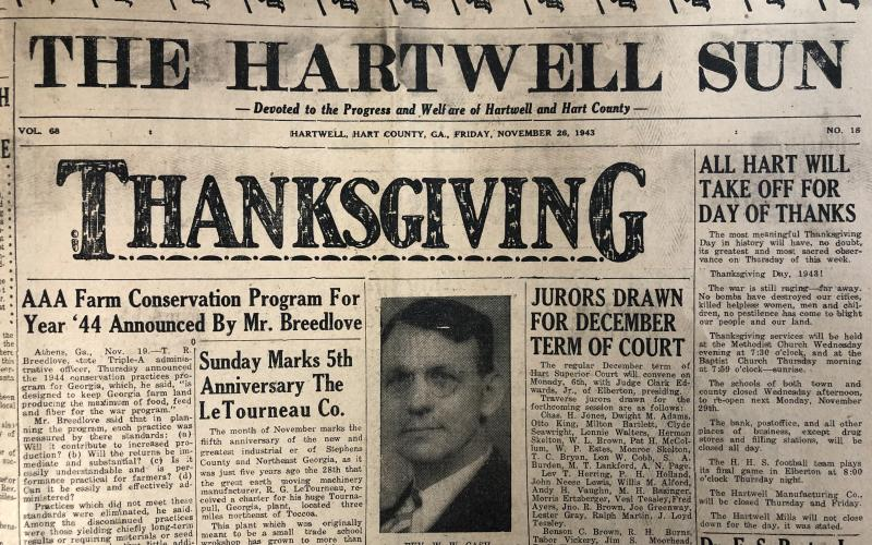 Thanksgiving wishes from the Hartwell Sun in 1943