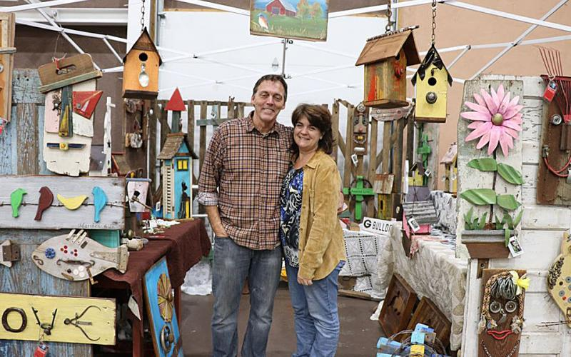 Photo submitted — Jim and Sonja Corder of Birdhouse and More show off some of their wares at the 2018 Holiday Bazaar at Cornerstone Baptist Church in Hartwell.