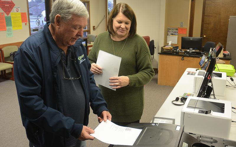 The new system allows three different opportunities to review ballots, the first on the screen, the second on paper, then once more before submitting the paper ballot into a secure bin that will be taken to the board of elections office, creating a paper archive in addition to the electronically cast ballots.