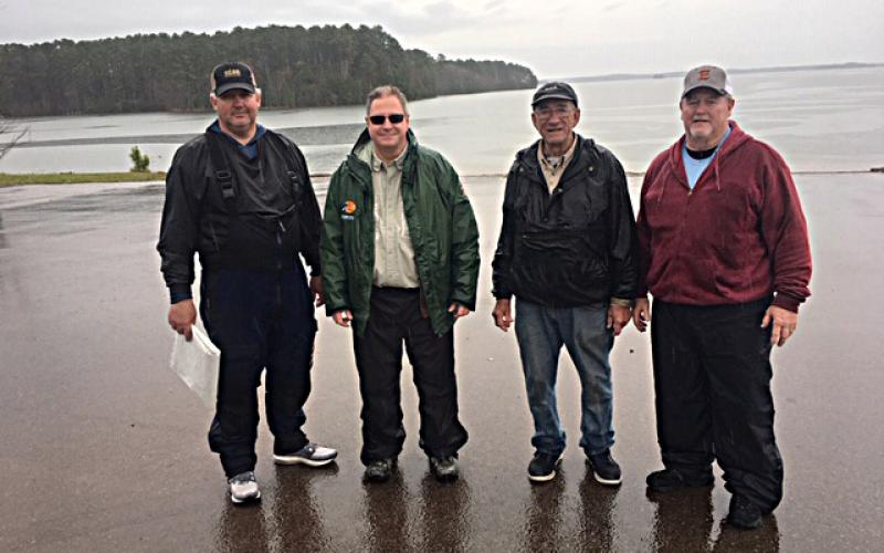 Pictured are the winners from left to right:  Jason Sanders, first place, 12.32 lb.; Dennis Royal, second place, 10.69lb.; Max Milford, third place, 10.67lb.; and Larry Brown, fourth place, 10.36lb.