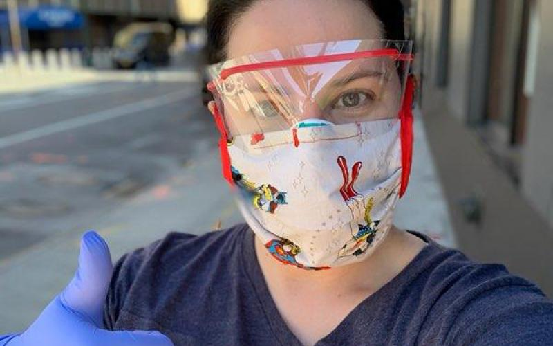 Franklin County native and nurse Joanna Davis Malcom is pictured during her recent mission to New York City to help the city's overwhelmed hospital system during the coronavirus pandemic. Malcom is wearing a shirt made for her by Franklin County's Paula Tyner.