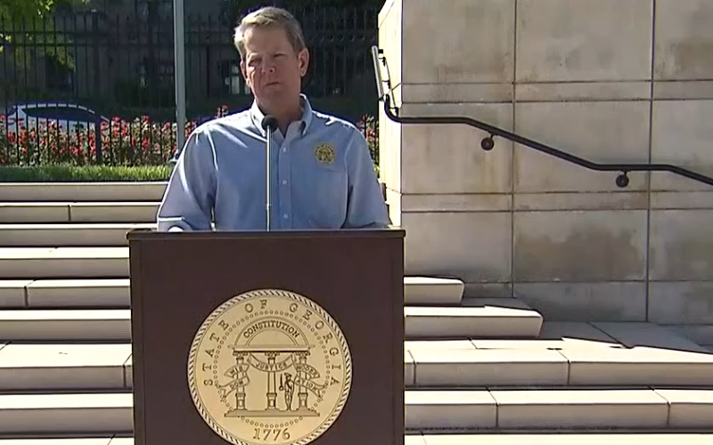 Gov. Brian Kemp speaks at a news conference at the state Capitol in Atlanta on April 20 to announce the reopening of some businesses statewide.