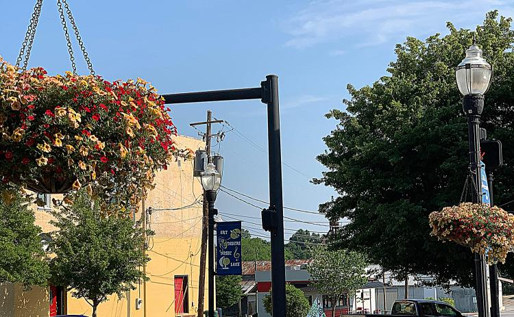 Flower baskets, shown here, were recently taken down in downtown Hartwell.