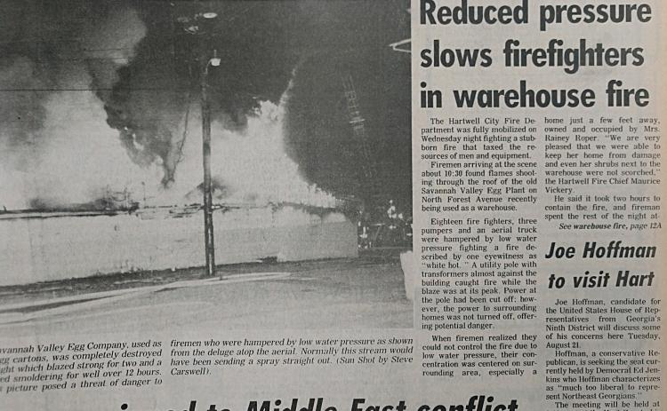 The front page of the Aug. 15, 1990 edition featured a photo and story about a warehouse fire on N. Forest Avenue in Hartwell.