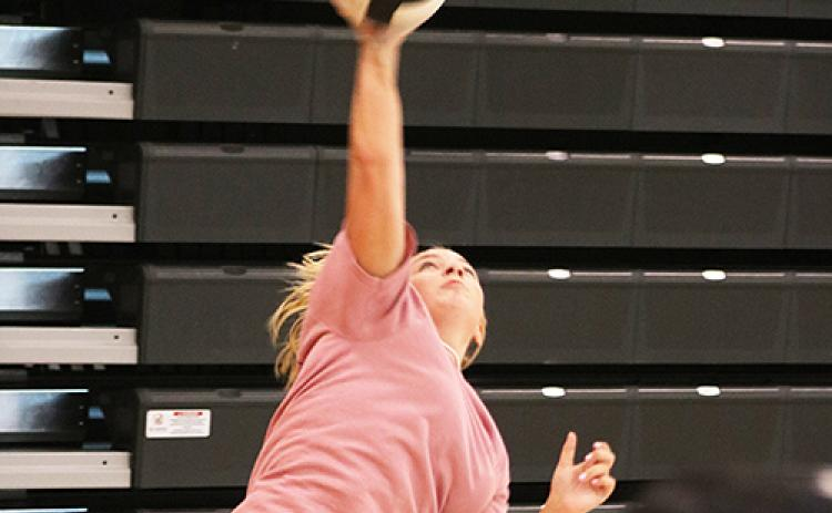 Calli Beebe serves during practice last week at Hart County High School.
