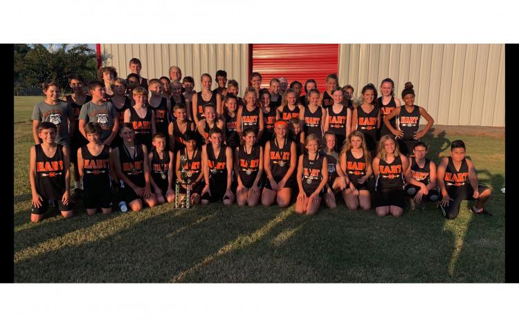 Photo submitted — The Hart County Middle School cross country team poses for a photo after winning the region for the seventh year in a row last week.