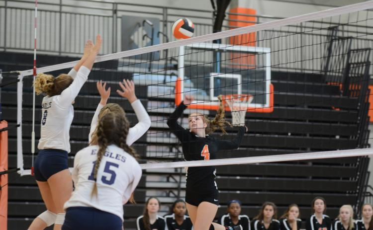 Sunshot by Grayson Williams — Ashley Chapman goes for the kill for the Volleydogs in the Area 8-AAA tournament at Hart County High School. The team finished in fourth place, qualifying it for the state tournament.