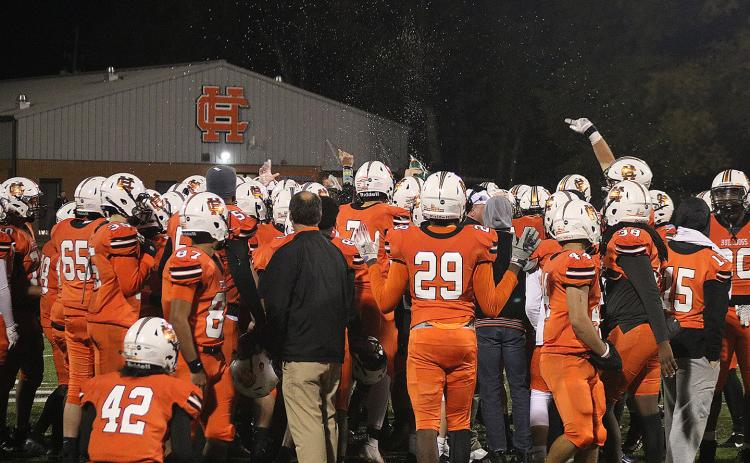 The Hart County Bulldogs celebrate their win over Haralson County last week at Herndon Stadium.
