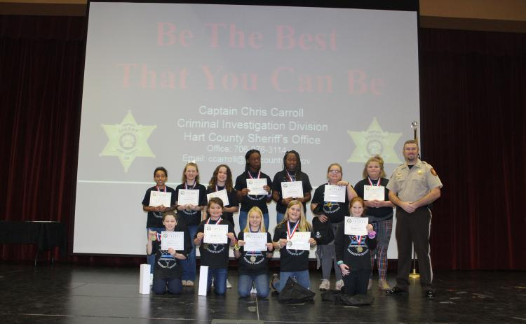 Winners of the Anti-Drug and Alcohol poster winners are front row from left to right, Kadyn Cromer, Cara Cook, Chloe Hendrix , Peyton McCollum and Ashley Brown. Back Row from left to right are Deanna Howell, Kalee Bond, Leah Fleeman, Ka'lis Blackwell, Mckenzie Teasley, Mickinzie Clark and Jacee Adams.