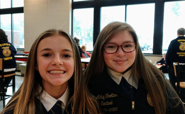Photo submitted Hannah Coker and Abby Trotter were pumped up ahead of their public speaking CDE's at Madison County High School. Hannah competes in Creed Speaking and Abby competed in Prepared Public Speaking.