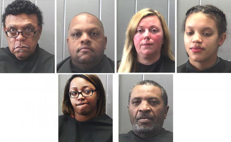 Booking photos from the Hart County Detention Center — From left to right, top row, R.C. Oglesby, Steven Oglesby, Amy Oglesby, Dasia Oglesby. Bottom row, Nelson Blackwell and Monique Oglesby.