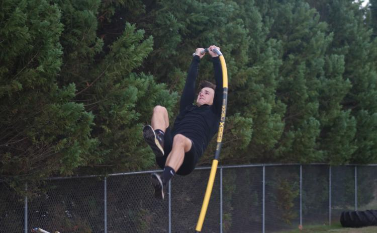 Sunshot by Grayson Williams - AJ Johnson pole vaults at Hart County High School track practice last week.