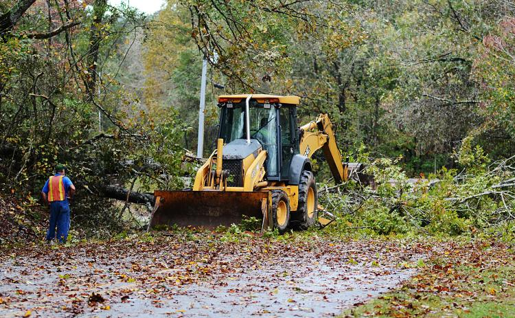 A road crew clears a tree across Payne's Creek road in Hart County Thursday morning.
