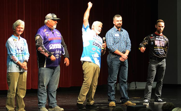 "Ray Brazier, center, from ""Fishing University"" gets the crowd of Hart County High School students riled up during the show's visit in October 2019."