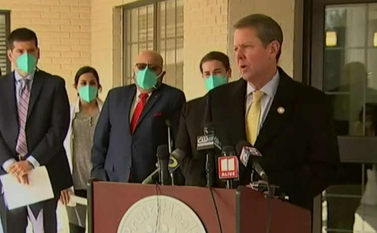 This screen shot taken from a Facebook live video shot by WSB in Atlanta shows Brian Kemp speaking about the coronavirus vaccine at Pruitt Health in Gainesville.
