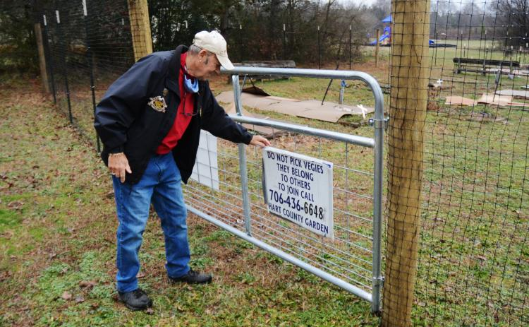 Sunshot by Michael Hall - Frank Spenger adjusts a sign on the gate that was installed as part of a 7-foot-tall deer fence recently constructed around the Hart County Community Garden.