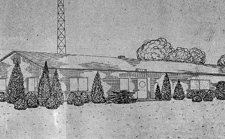 A rendering published in 1947 of what is now WKLY.